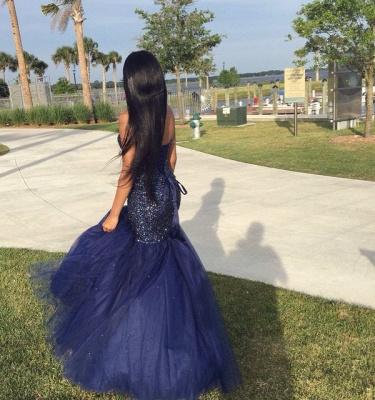 Sequins Navy Sleeveless Beading Strapless Blue Popular Shiny Tulle Prom Dress_3