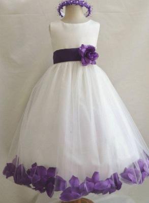 White Tulle A-Line Flower Girl Dresses | Floor Length Girl Party Dress with Handmade Flowers_2