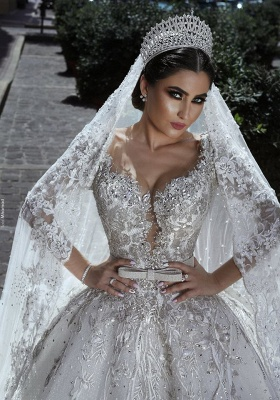 Luxury Sweetheart Long Sleeves Ball Gown Wedding Dresses | Couture Bridal Gowns_3