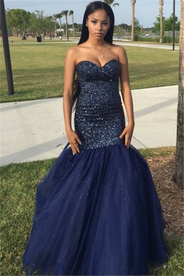 Sequins Navy Sleeveless Beading Strapless Blue Popular Shiny Tulle Prom Dress_2