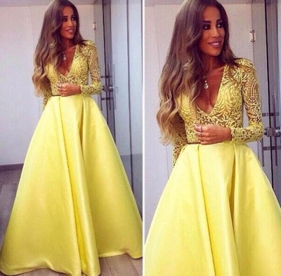 Gorgeous Satin Long Lace Yellow Sleeves V-neck Prom Dresses_3