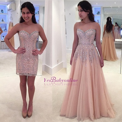 Gorgeous Beads Sweetheart Sleeveless Lace Prom Dress_1