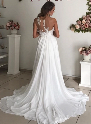 Elegant Jewel Straps Applique Illusion Back Ruffles A Line Wedding Dresses_2