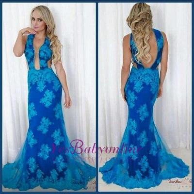 V-neck Sweep Sheath Blue Train Backless Sexy Evening Gown_1