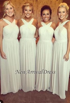 Elegant A-line Sleeveless Cross 2019 Chiffon Long Bridesmaid Dresses_1
