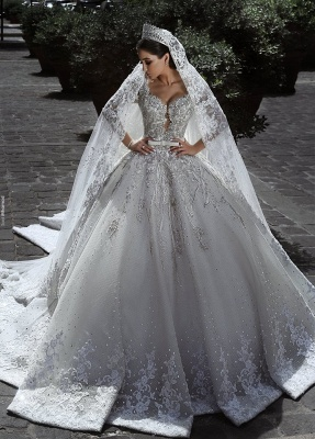 Luxury Sweetheart Long Sleeves Ball Gown Wedding Dresses | Couture Bridal Gowns_1
