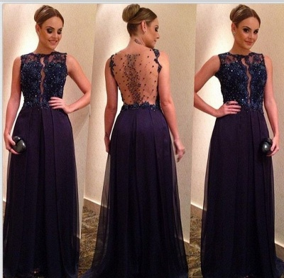 Newest A-Line Crystal A-Line Appliques Sleeveless Prom Dress_2
