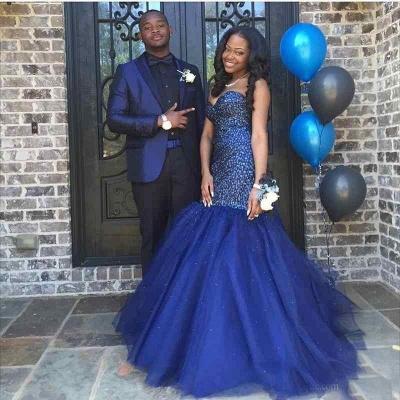 Sequins Navy Sleeveless Beading Strapless Blue Popular Shiny Tulle Prom Dress_4