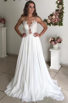 Elegant Jewel Straps Applique Illusion Back Ruffles A Line Wedding Dresses_1
