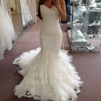 Tiered Tulle Appliques Sequins Sweetheart Glamorous Mermaid Wedding Dresses_3