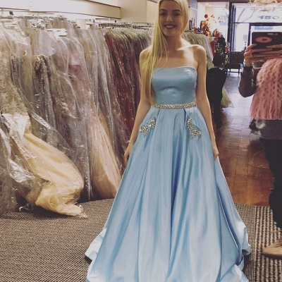 Crystals A-line Strapless Newest Sky-Blue Sleeveless Prom Dress_3
