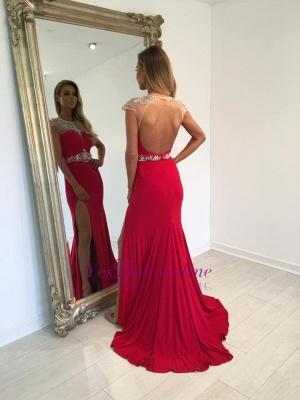 Red Long Split Crystal Cap-Sleeve Sexy Prom Dress_1