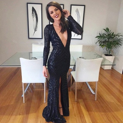 Sexy V-neck Black Prom Dresses | Luxurious Sequined Mermaid Evening Dresses_3