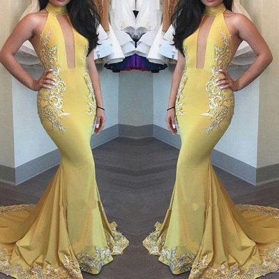 High-Neck Yellow Beautiful Appliques Keyhole Mermaid Evening Dress_3