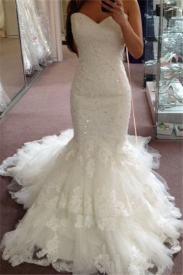 Tiered Tulle Appliques Sequins Sweetheart Glamorous Mermaid Wedding Dresses_2