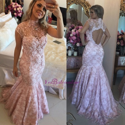 Lace Beaded Pink High-Neck Cap-Sleeves Open-Back Prom Dresses_1