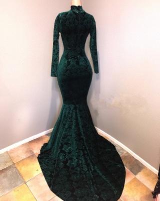 Mermaid Velvet Lace Evening Dresses | High Neck Long Sleeves Keyhole Prom Dresses_3