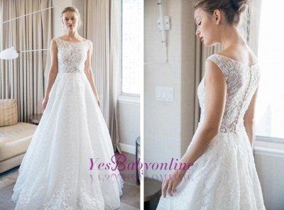 Floor-length Scoop-neckline A-line Lace Sleeveless Simple Wedding Dress_1