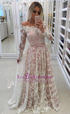 Prom Long Sleeves Lace Shoulder Dresses Pink Newest A-Line Pearls Off Evening Dresses_1