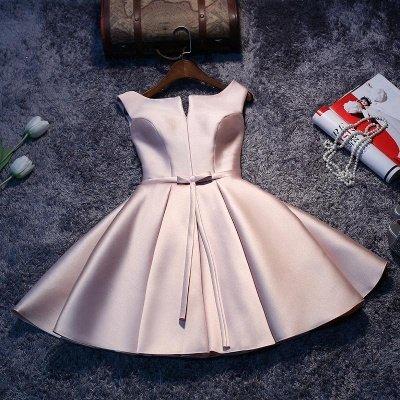 2019 Glossy Homecoming Dresses A-Line Sleeveless Sash Cocktail Dress_5