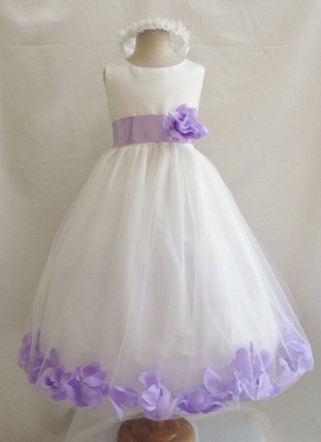 White Tulle A-Line Flower Girl Dresses Floor Length Party Dress with Handmade Flowers