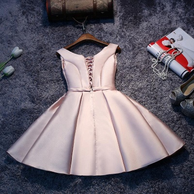 2019 Glossy Homecoming Dresses A-Line Sleeveless Sash Cocktail Dress_4