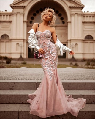 Mermaid Pink Shiny Sequin Sweetheart Appliques Prom Dresses   2019 Evening Gowns_3