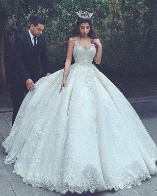 Appliques Lace V-neck Latest Princess Sleeveless Wedding Dress_3