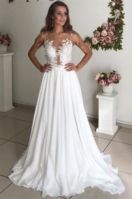 Elegant Jewel Straps Applique Illusion Back Ruffles A Line Wedding Dresses