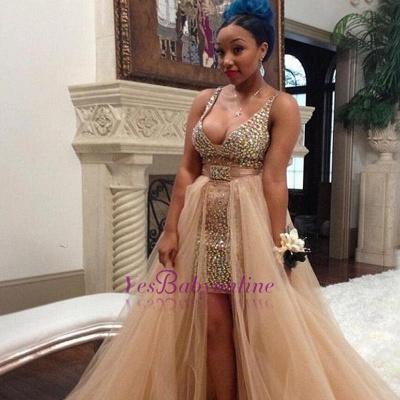 Straps V-neck Sexy Hi-Lo Crystals  Sleeveless Prom Dress_1