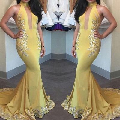 High-Neck Yellow Beautiful Appliques Keyhole Mermaid Evening Dress_3