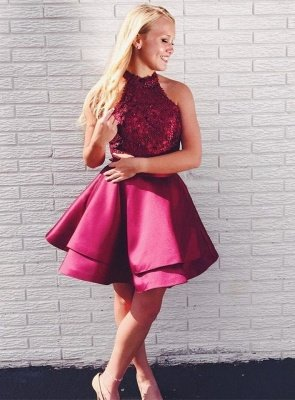 Newest Lace Beads Halter Homecoming Dress | Short Ruffled Party Gown_1