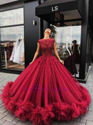 Ball-Gown Scoop Short-Sleeves Burgundy Luxury Prom Dresses_1
