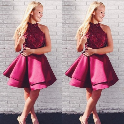 Newest Lace Beads Halter Homecoming Dress | Short Ruffled Party Gown_3