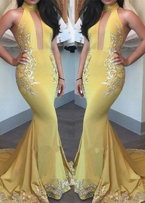 High-Neck Yellow Beautiful Appliques Keyhole Mermaid Evening Dress_2