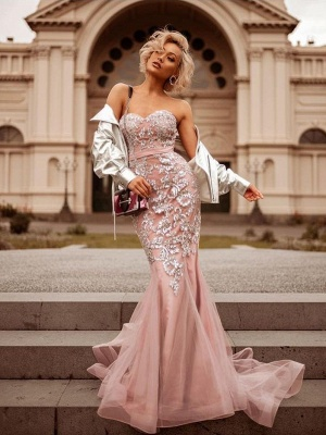 Mermaid Pink Shiny Sequin Sweetheart Appliques Prom Dresses   2019 Evening Gowns_1