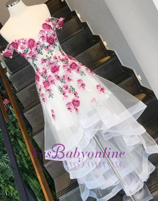 Chic White Flowers Prom Dresses Off-the-Shoulder High Low Layers Party Dresses_1