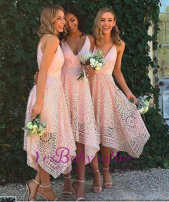 Sleeveless A-Line Bridesmaid Dresses | V-Neck Lace Wedding party dresses_5