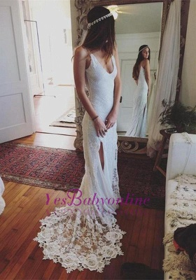 Sleeveless V-Neck Lace Split Glamorous Beach Wedding Dress_1