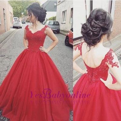 Lace Modern Lace-up  Sleeveless Straps Prom Dress_1