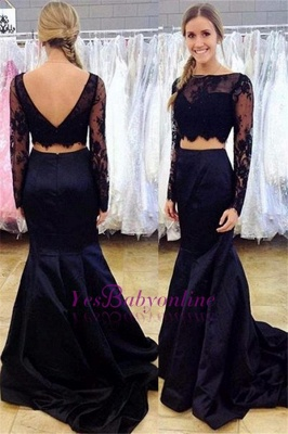 Lace Two-Piece Mermaid Long-Sleeve Bateau Black Open-Back Prom Dress_1