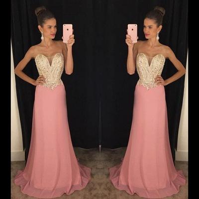 Beadings Sheath 2019  Latest Strapless Pink Sleeveless Prom Dresses_3