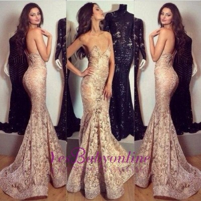 Sexy Champagne Mermaid Prom Dresses Sweetheart Neck Long Evening Gowns_1