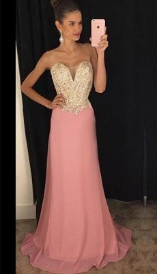 Beadings Sheath 2019  Latest Strapless Pink Sleeveless Prom Dresses_2