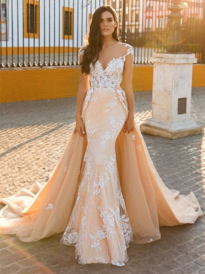 Graceful Jewel Cap Sleeve Lace Mermaid Wedding Dress With Detachable Train_3