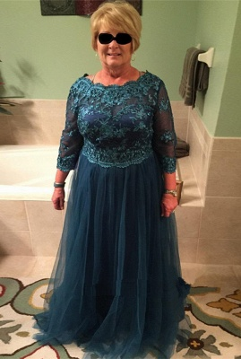 Elegant A-line Long Sleeves Floor Length Lace Mother of Bride Dresses_1