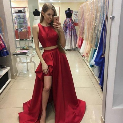 Two-Piece Newest Hi-Lo A-line Red Jewel Prom Dress_2