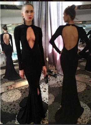 Sexy Long-Sleeve Prom Dresses| Backless Mermaid Black Evening Dresses_2