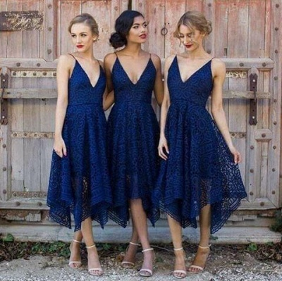 Sleeveless A-Line Bridesmaid Dresses | V-Neck Lace Wedding party dresses_3