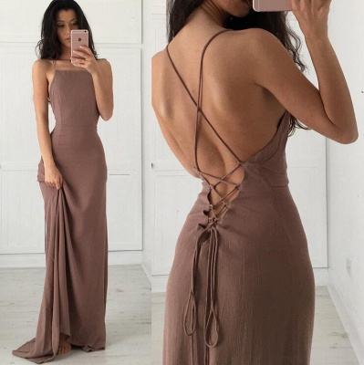 Brown Simple Long Formal Spaghettis-Straps Party Dresses_3